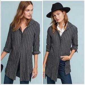 Cloth & Stone Grey Striped Button Down Tunic XS
